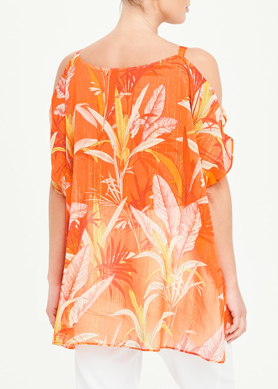 Soon Orange Leaf Print Kimono Top