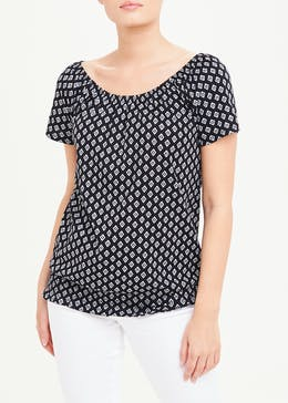 Shirred Tile Print Wide Neck T-Shirt
