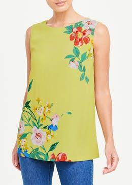 Yellow Sleeveless Floral Blouse