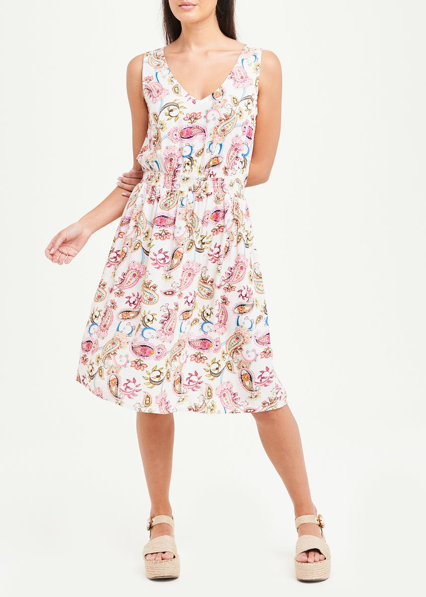 Sleeveless Paisley Shirred Waist Dress