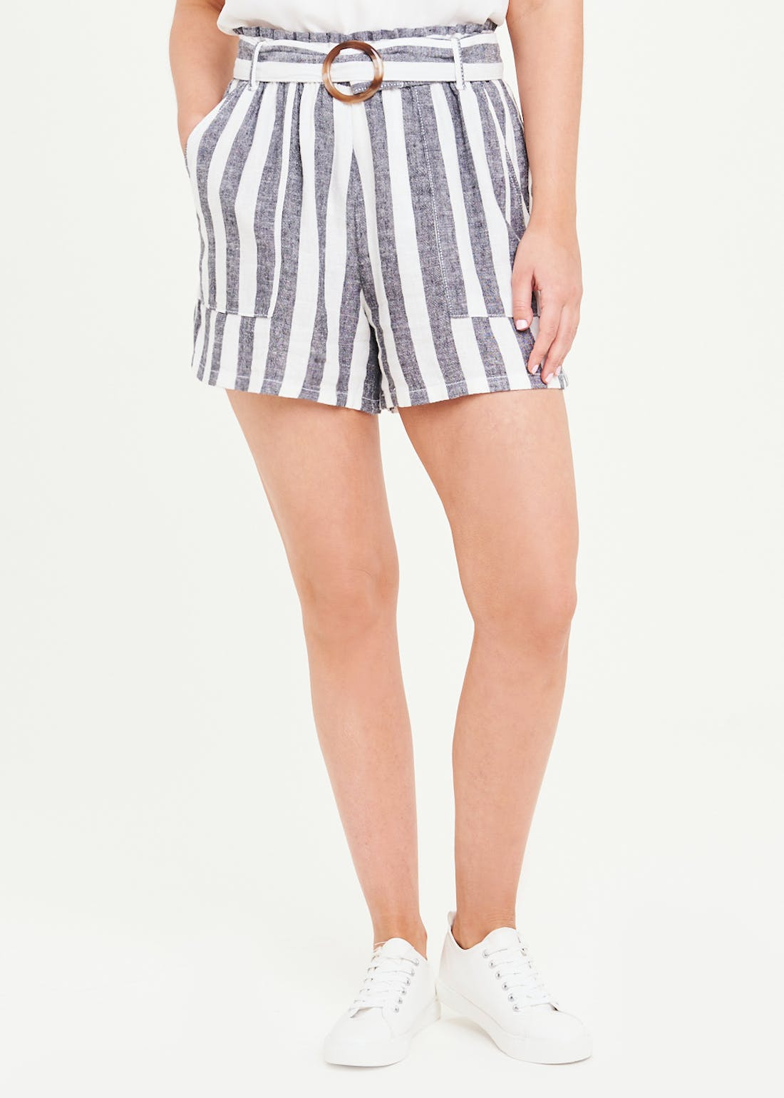 Stripe Buckle Waist Linen Shorts