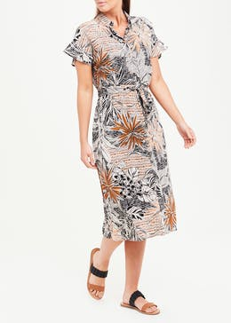 Short Sleeve Palm Print Midi Shirt Dress