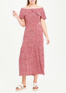 Red Dot Print Bardot Maxi Dress