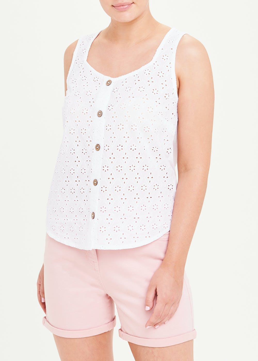 Broderie Button Front Vest Top – White