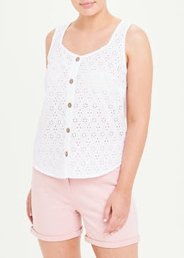 Broderie Button Front Vest Top