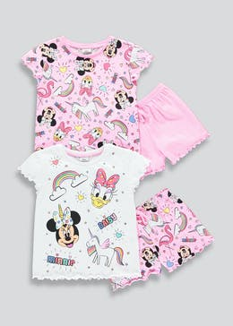 Girls 2 Pack Disney Minnie Mouse Short Pyjamas (18mths-6yrs)