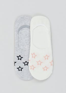 2 Pack Star Print Invisible Socks