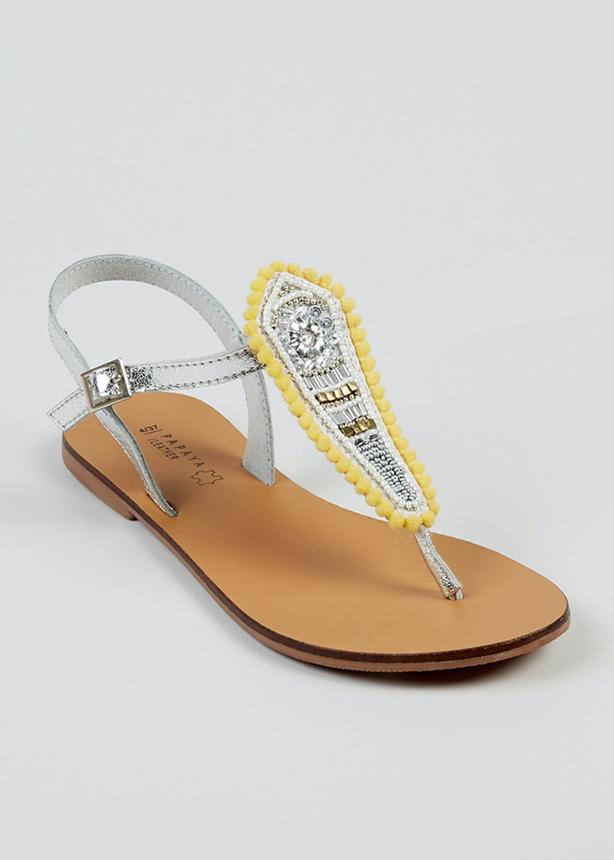 Yellow Beaded Leather Sandals Yellow tVaaIi