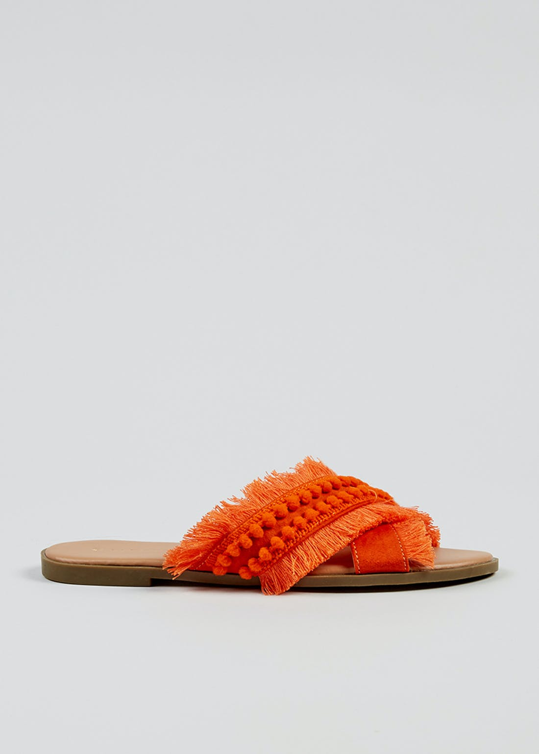 Orange Pom Pom Cross Strap Sandals