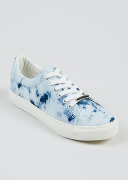 Blue Tie Dye Lace Up Trainers