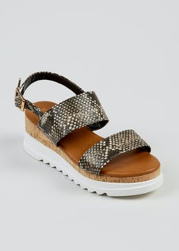 Wide Fit Snake Wedge Sandals