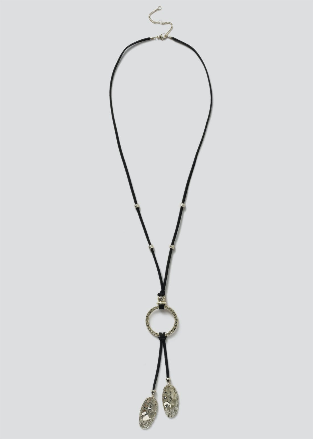 Cord Leaf Lariat Necklace