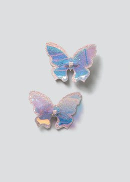 Girls 2 Pack Holographic Butterfly Hair Clips
