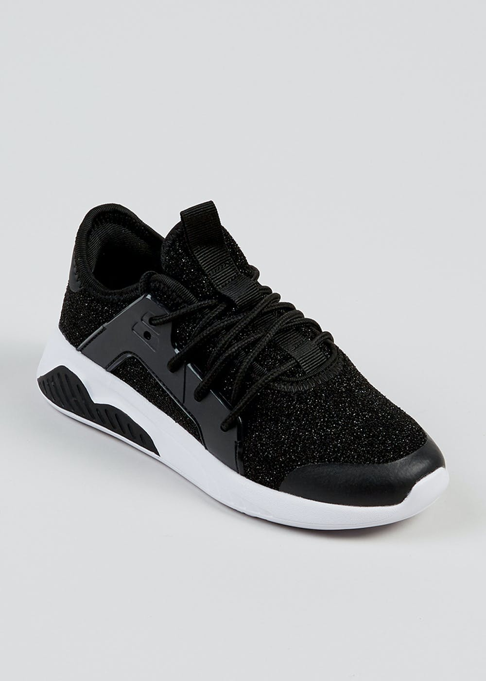 Girls Black Shimmer Sports Trainers