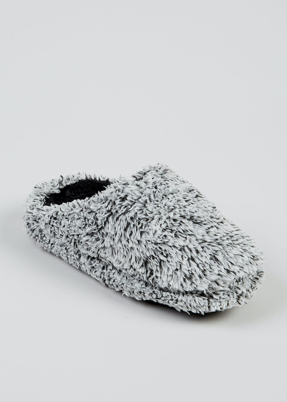 Boys Grey Fluffy Mule Slippers (Younger 10-Older 6) – Grey