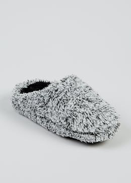 Boys Grey Fluffy Mule Slippers (Younger 10-Older 6)
