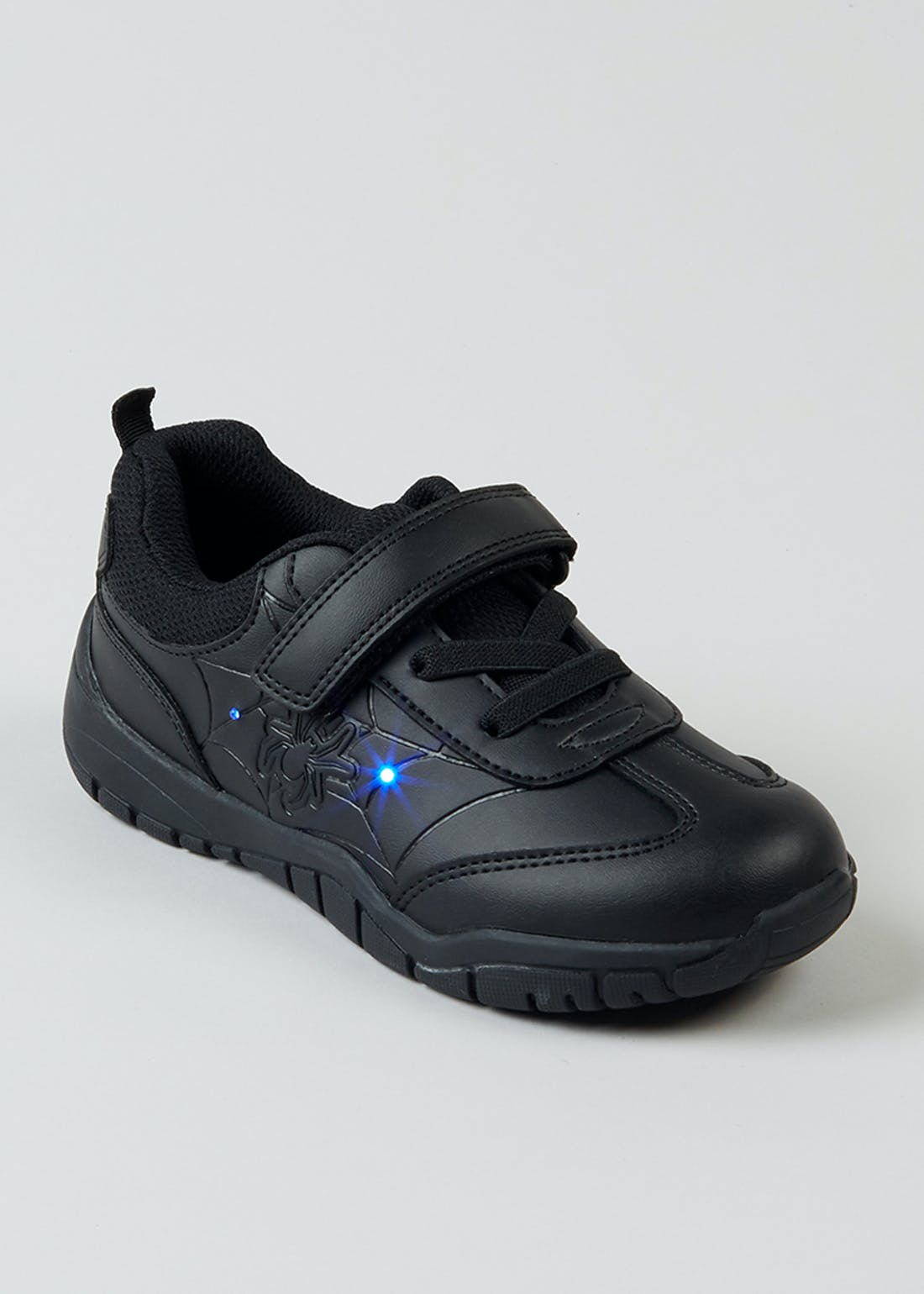 Boys Black Light Up Spider School Shoes (Younger 8-Older 1)