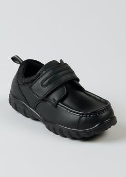 Boys Black Coated Leather School Shoes (Younger 7-Older 6)