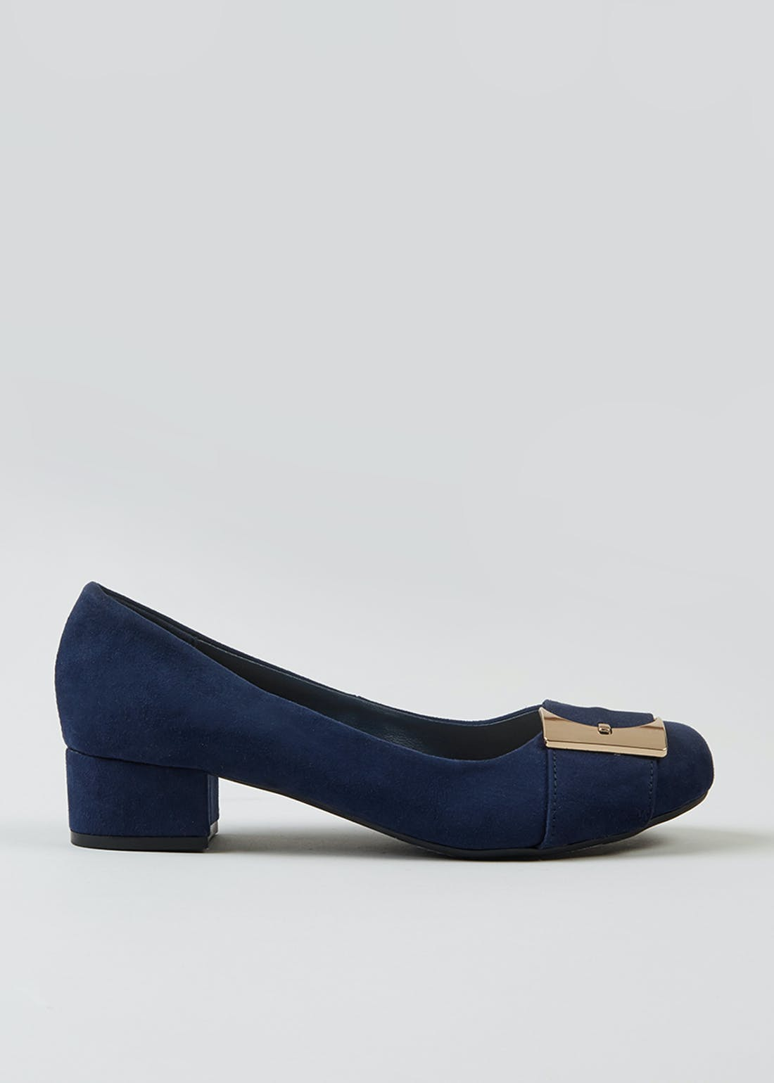 Soleflex Navy Square Buckle Block Heels
