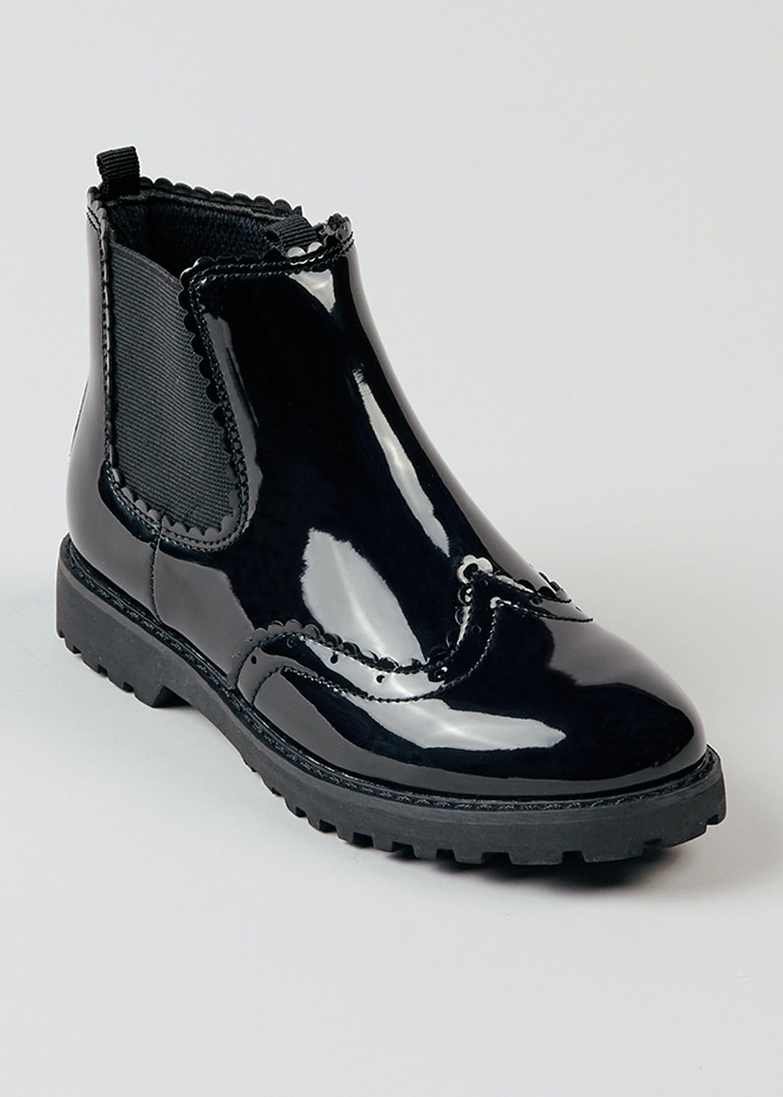 Girls Black Patent Chelsea Boots (Younger 10-Older 5)