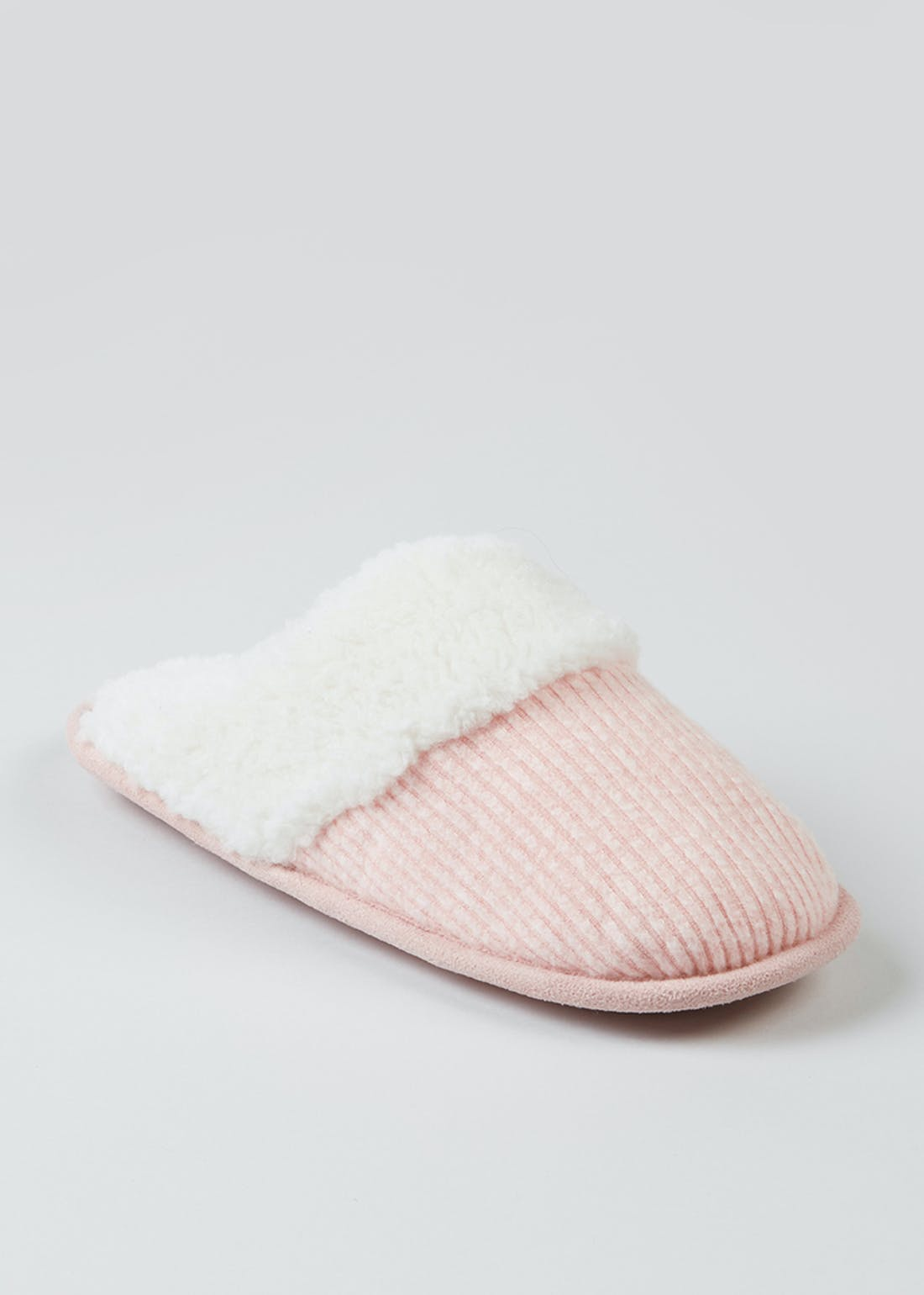 Pink Ribbed Teddy Fleece Mule Slippers