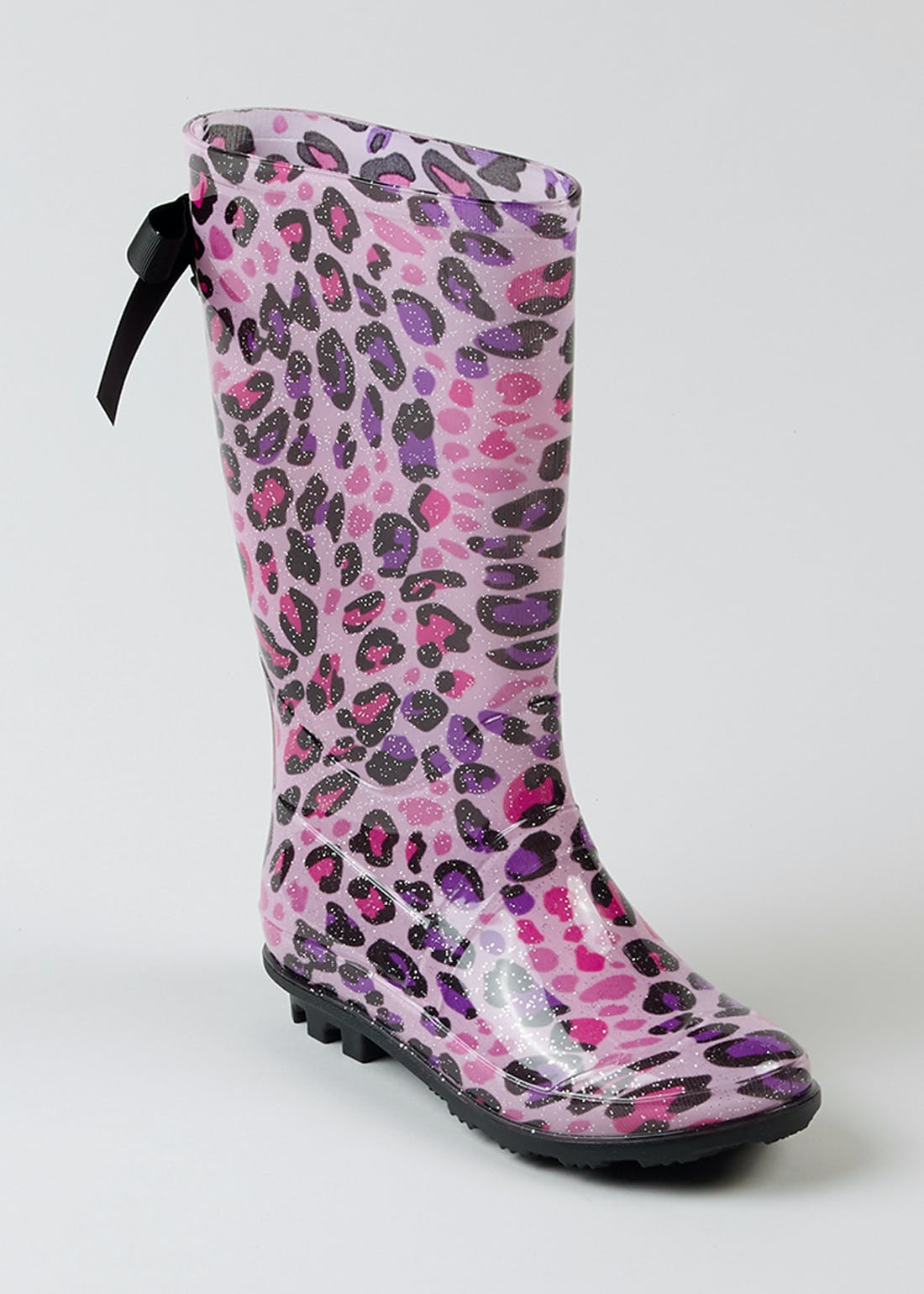 Girls Pink Leopard Print Wellies (Younger 10-Older 5)