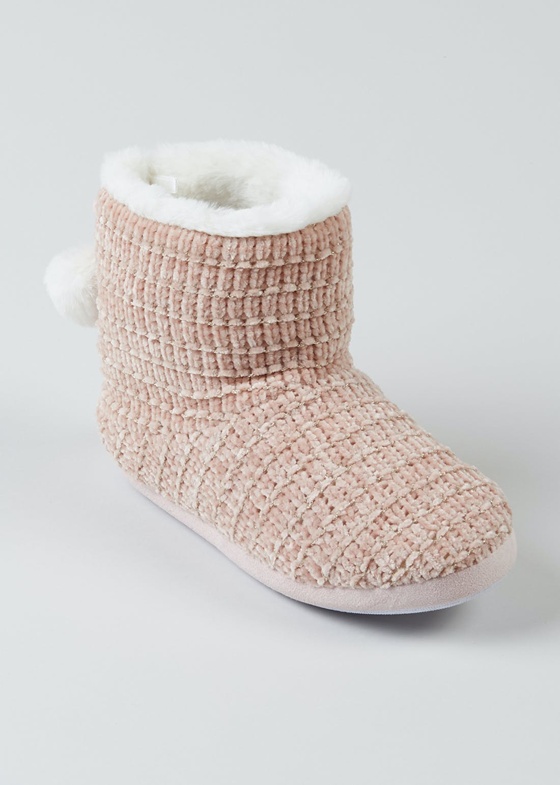 Pink Chenille Knit Slipper Boots