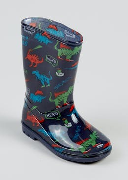 Boys Navy Dinosaur Wellies (Younger 4-12)