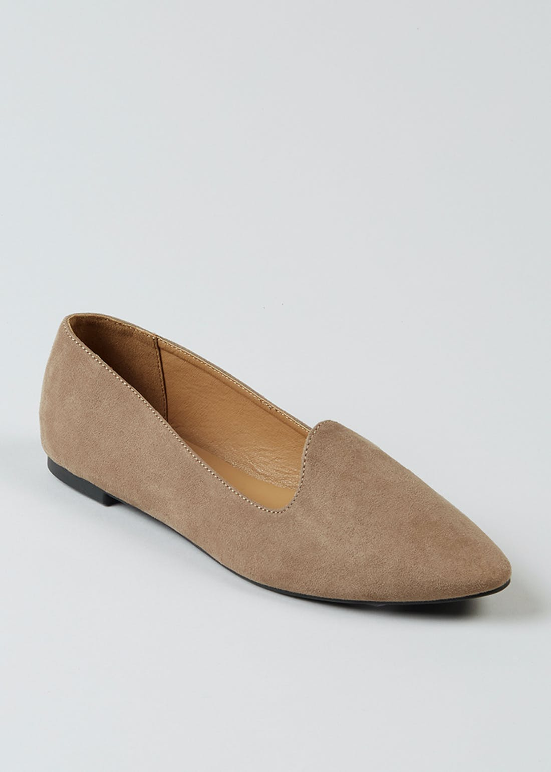 Taupe Suedette Ballet Slipper Shoes