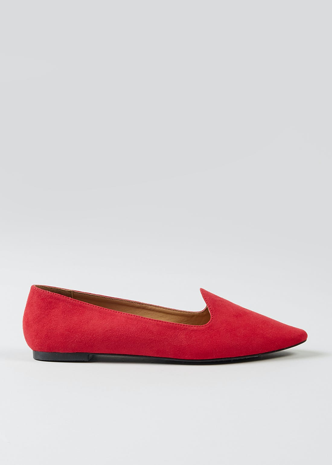 Red Suedette Ballet Slipper Shoes