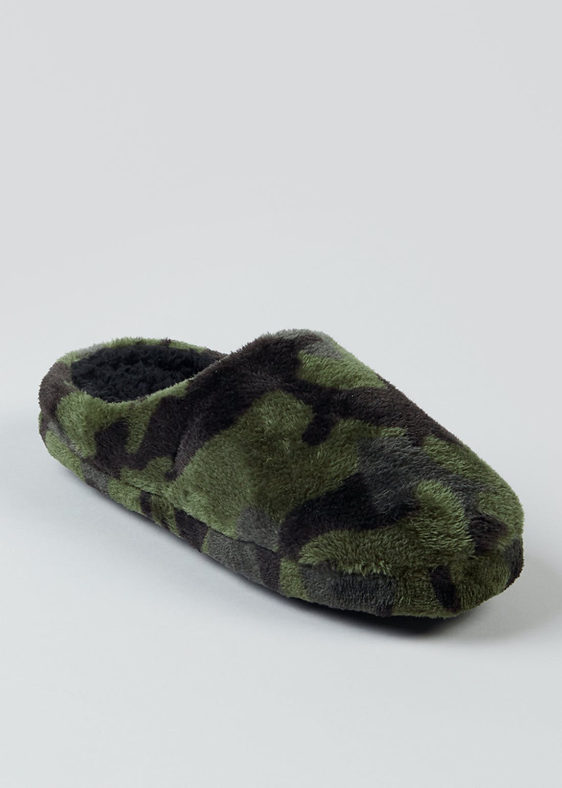 Boys Camo Fluffy Mule Slippers (Younger 10-Older 6)