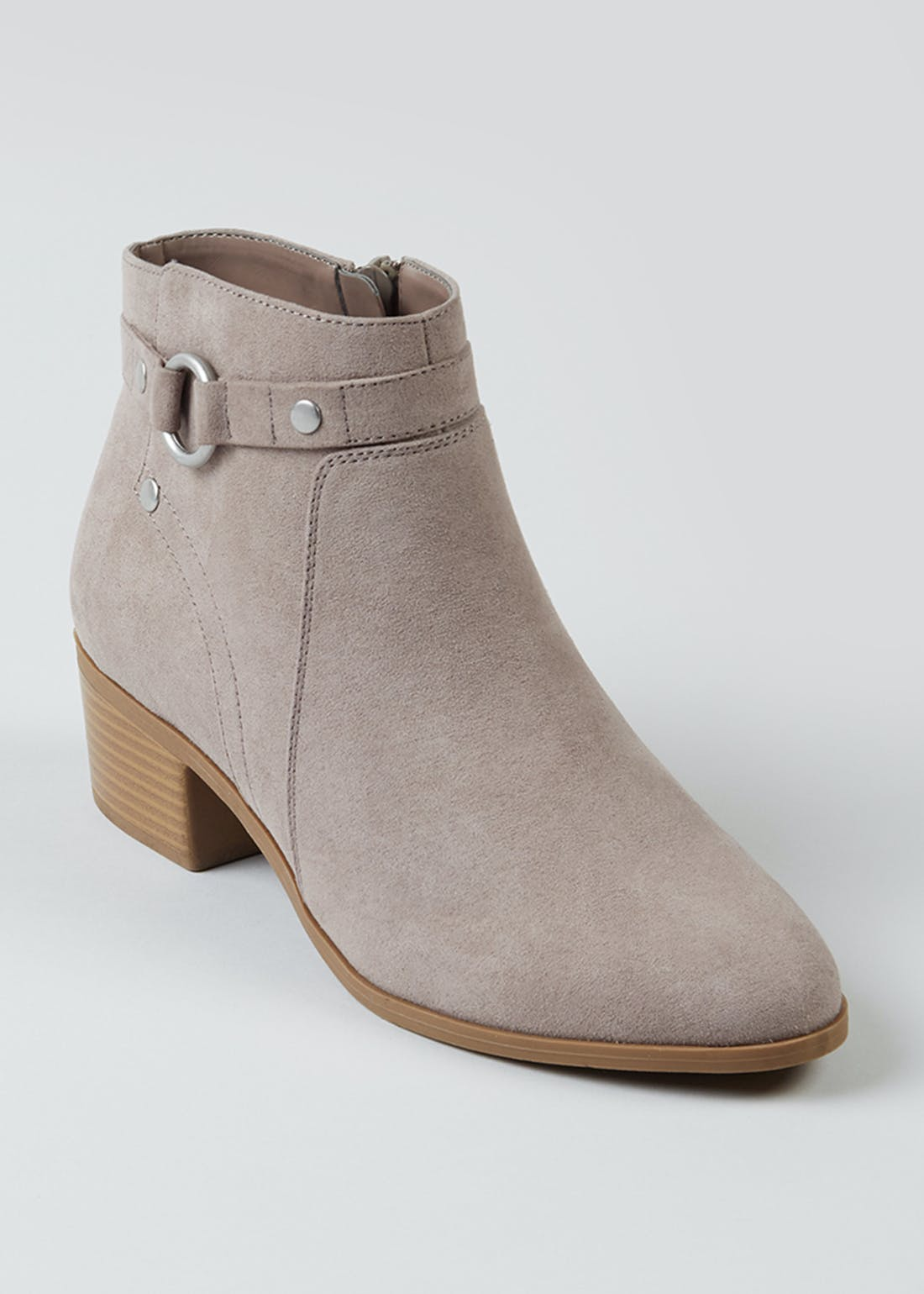 Wide Fit Beige Suedette Boots