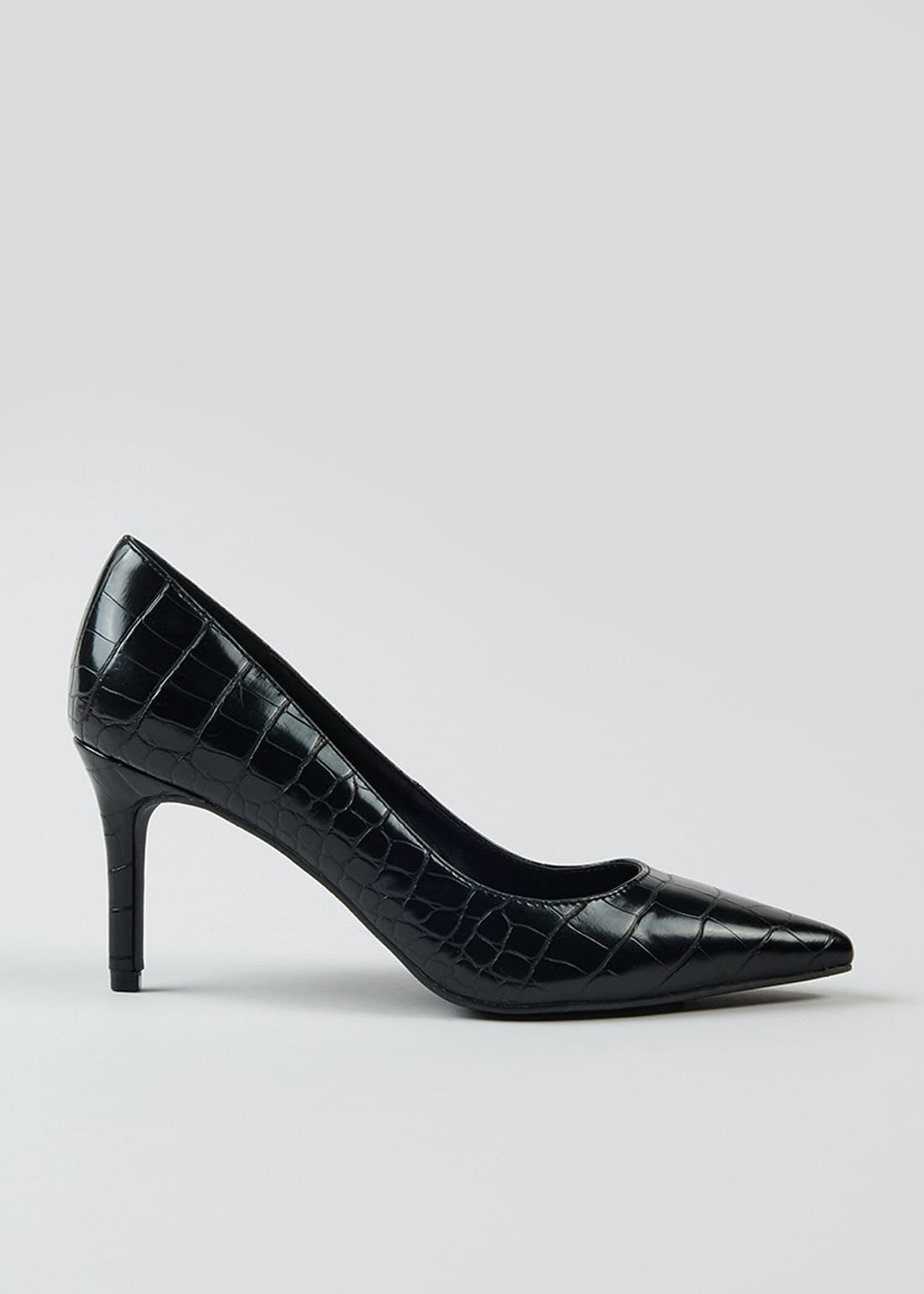Black Mock Croc Court Shoes