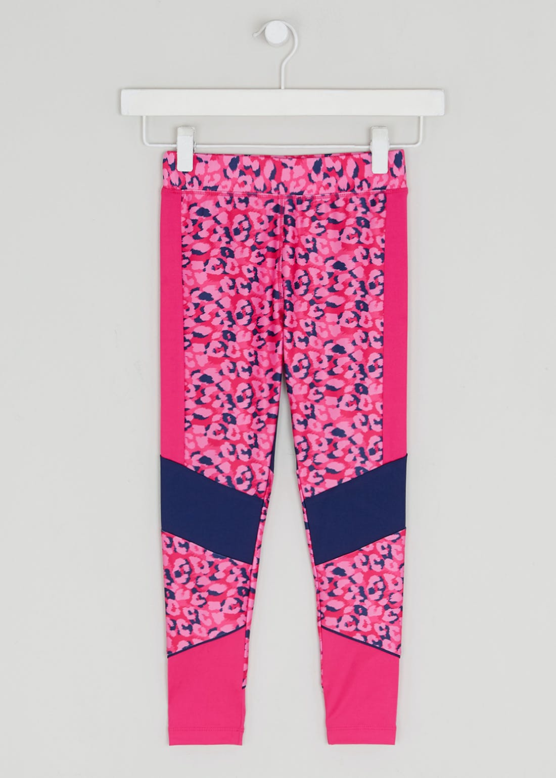 Girls Souluxe Pink Leopard Panel Sports Leggings (4-13yrs)