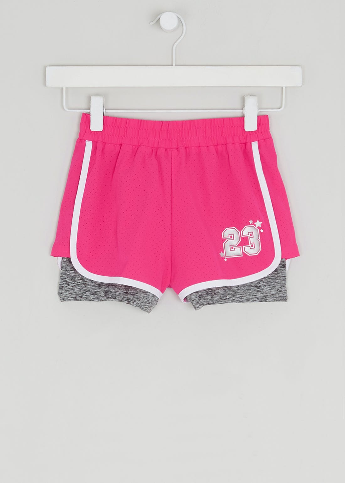 Girls Souluxe Pink 2 in 1 Sports Shorts (4-13yrs)