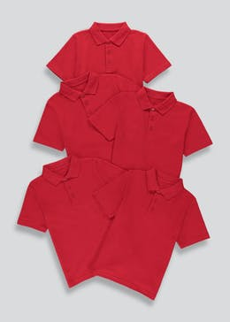 Kids 5 Pack Red School Polo Shirts (3-13yrs)