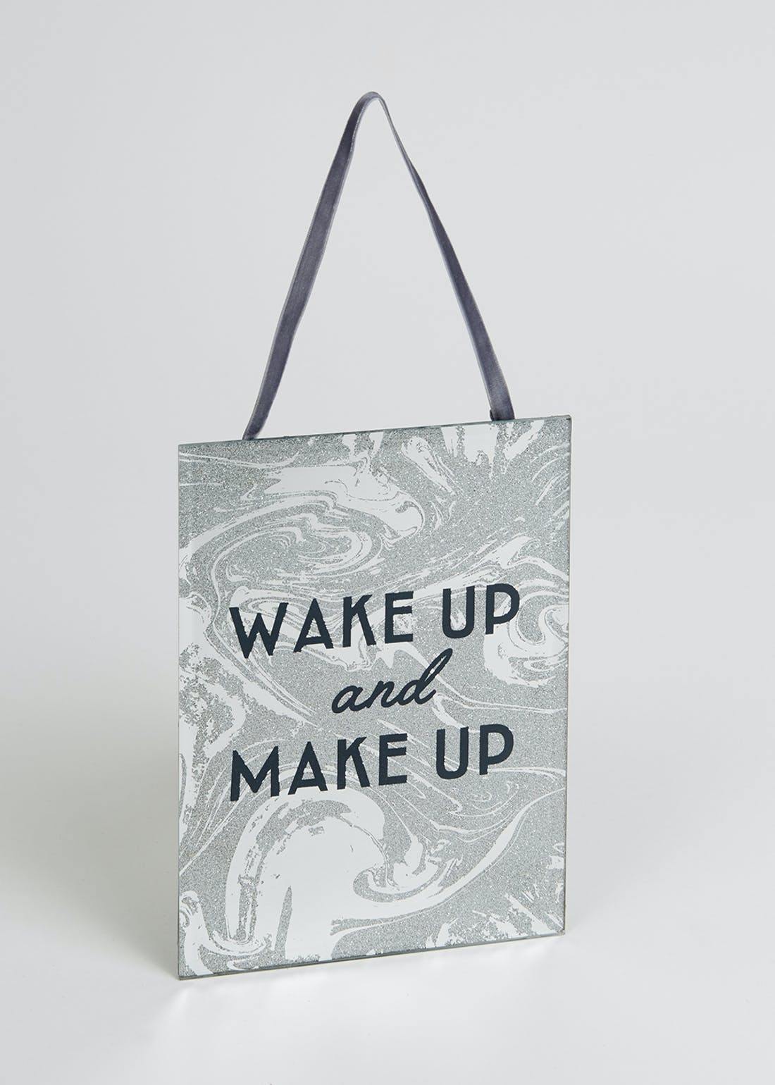 Wake Up And Make Up Hanging Mirror Sign (34cm x 16cm)