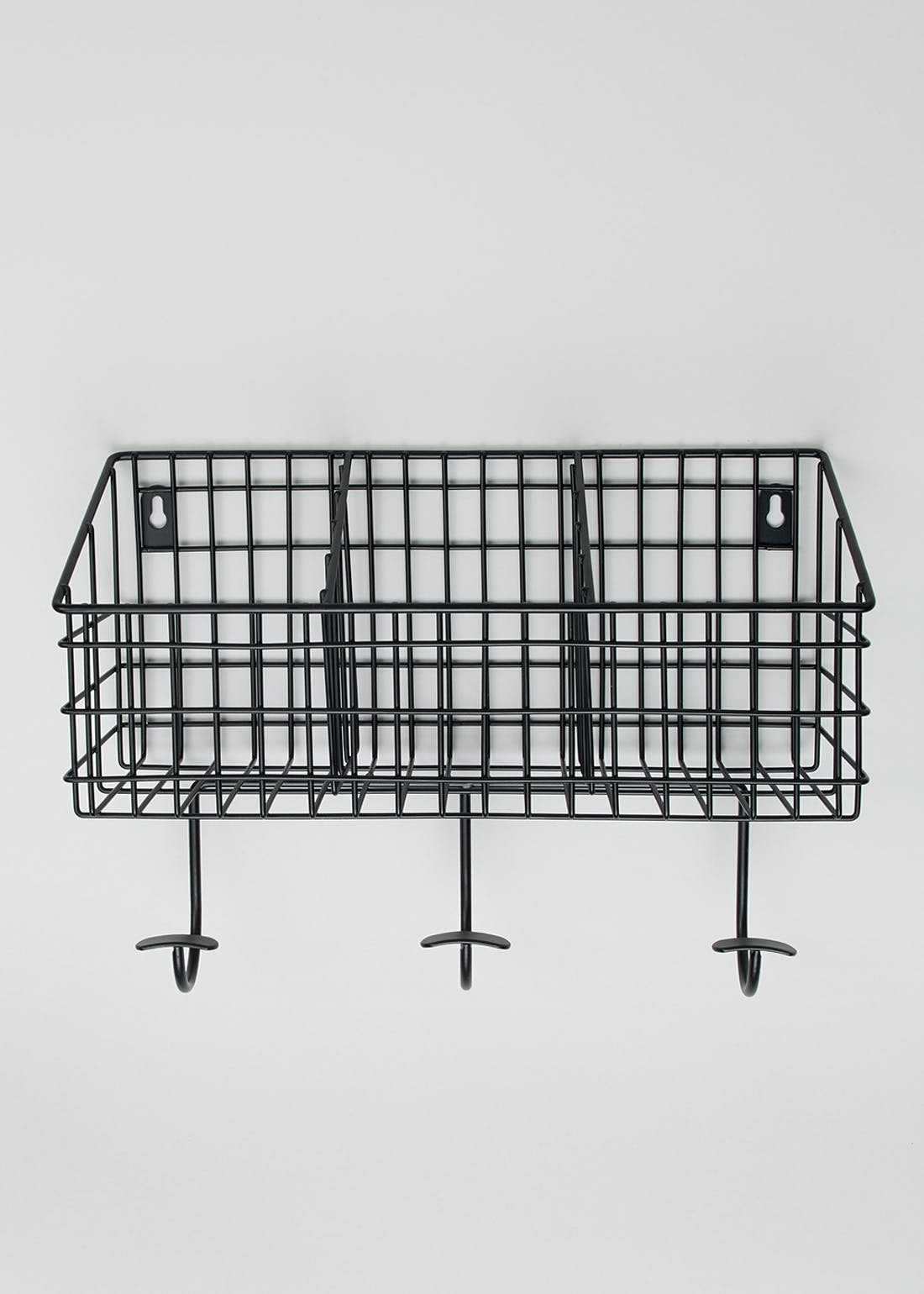 Wire Kitchen Shelf with Hooks (33cm x 24cm x 12cm)