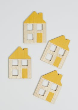 4 Pack Wooden House Coasters (12.5cm x 9cm)