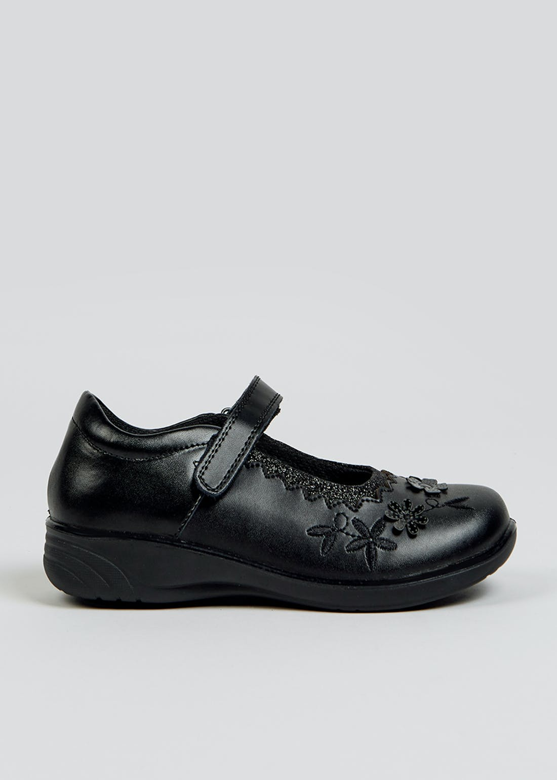 Girls Black Coated Leather School Shoes (Younger 8-Older 3)