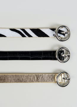 3 Pack Zebra Print Belts