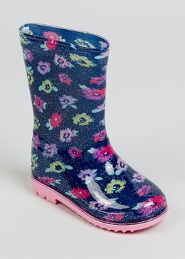 Girls Navy Floral Wellies (Younger 4-12)