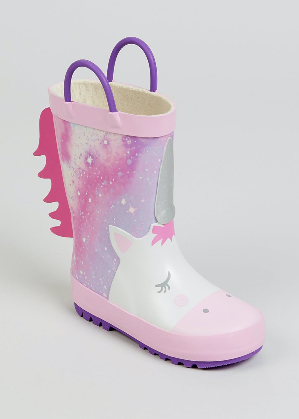 Girls Pink Unicorn Wellies (Younger 4