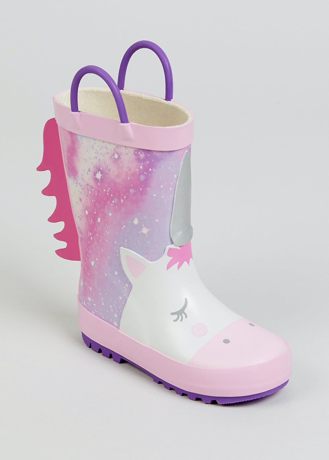 Girls Pink Unicorn Wellies (Younger 4-12)