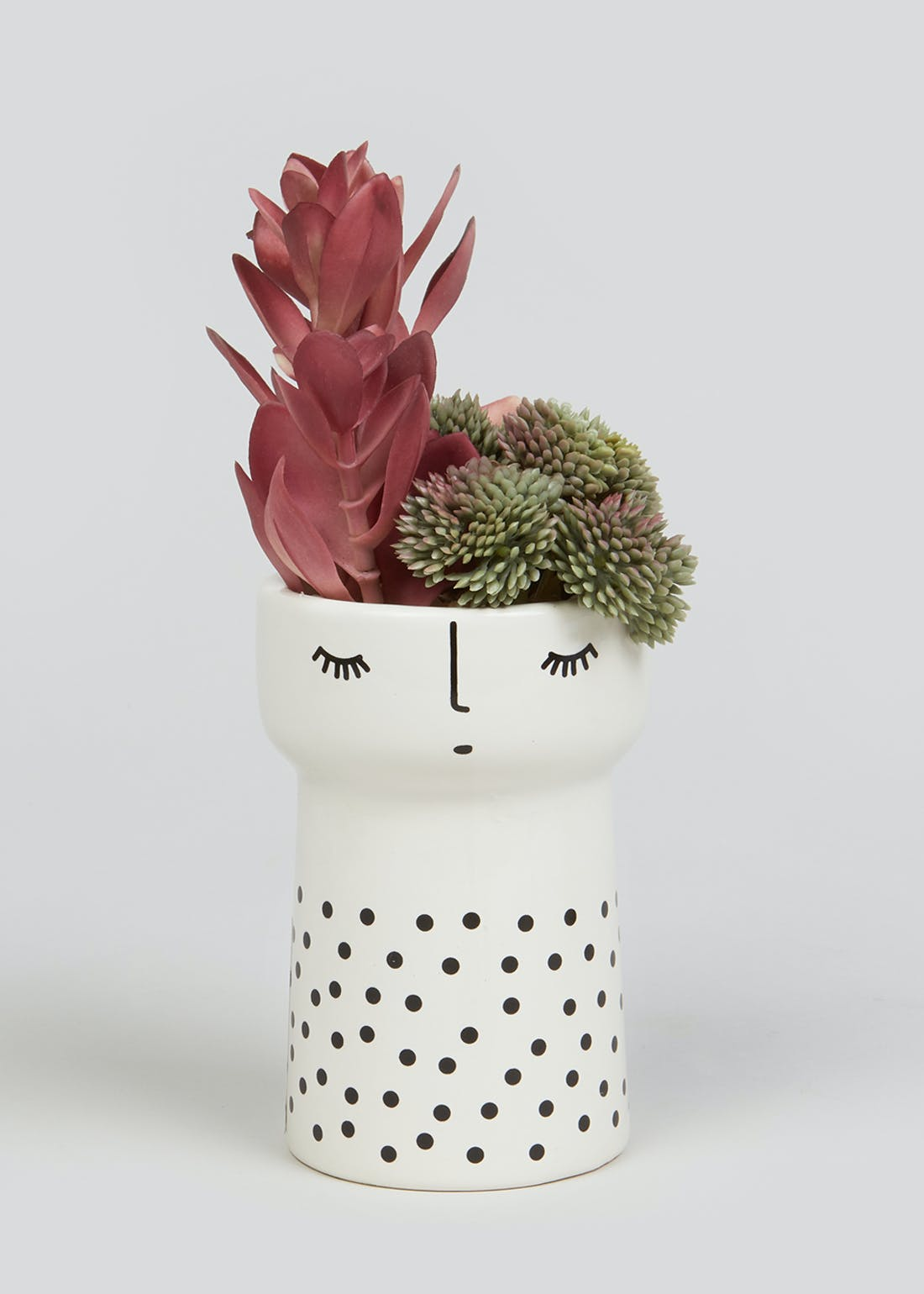 Hers Ceramic Planter with Succulent (22cm x 8cm x 8cm)