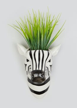 Grass in Zebra Wall Planter (32cm x 17cm x 16cm)