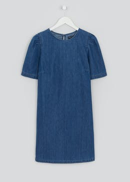 Puff Sleeve Denim Shift Dress