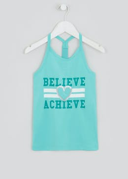 Girls Souluxe Aqua Slogan Sports Vest (4-13yrs)