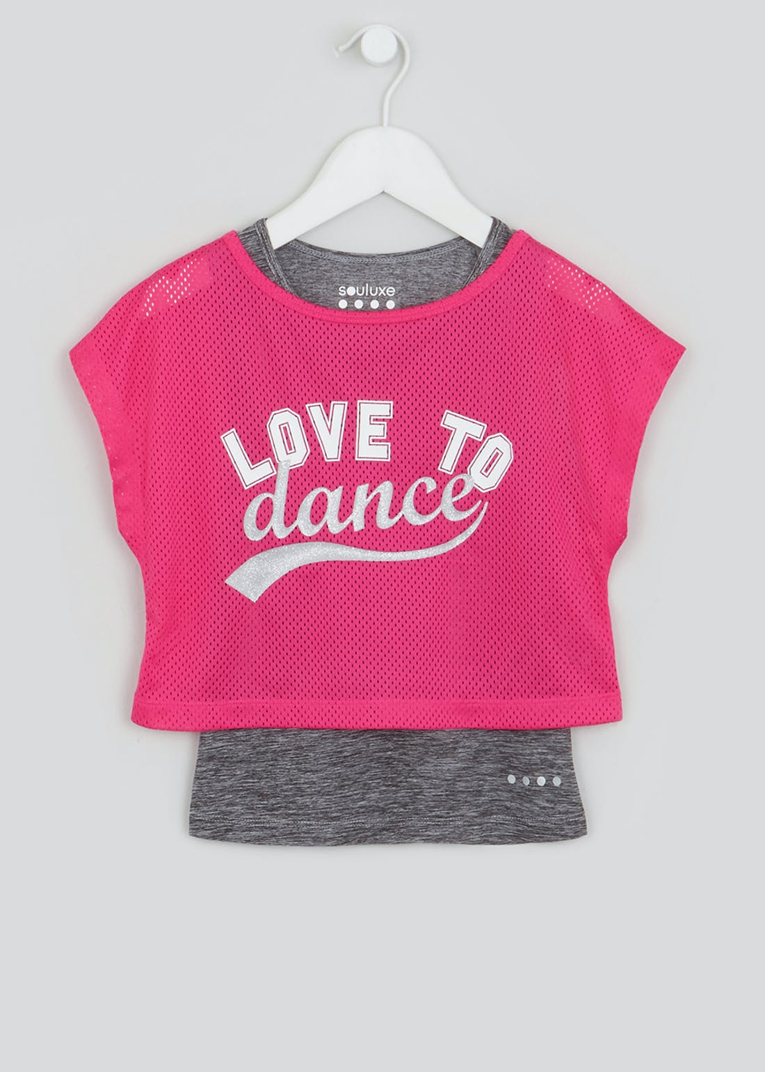 Girls Souluxe Pink 2 in 1 Slogan Mesh Sports Top (4-13yrs)