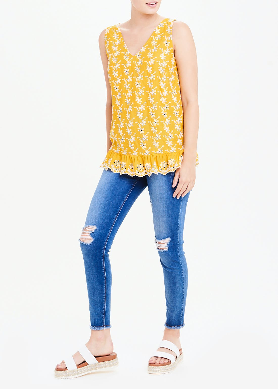 Falmer Yellow Floral Broderie Vest Top
